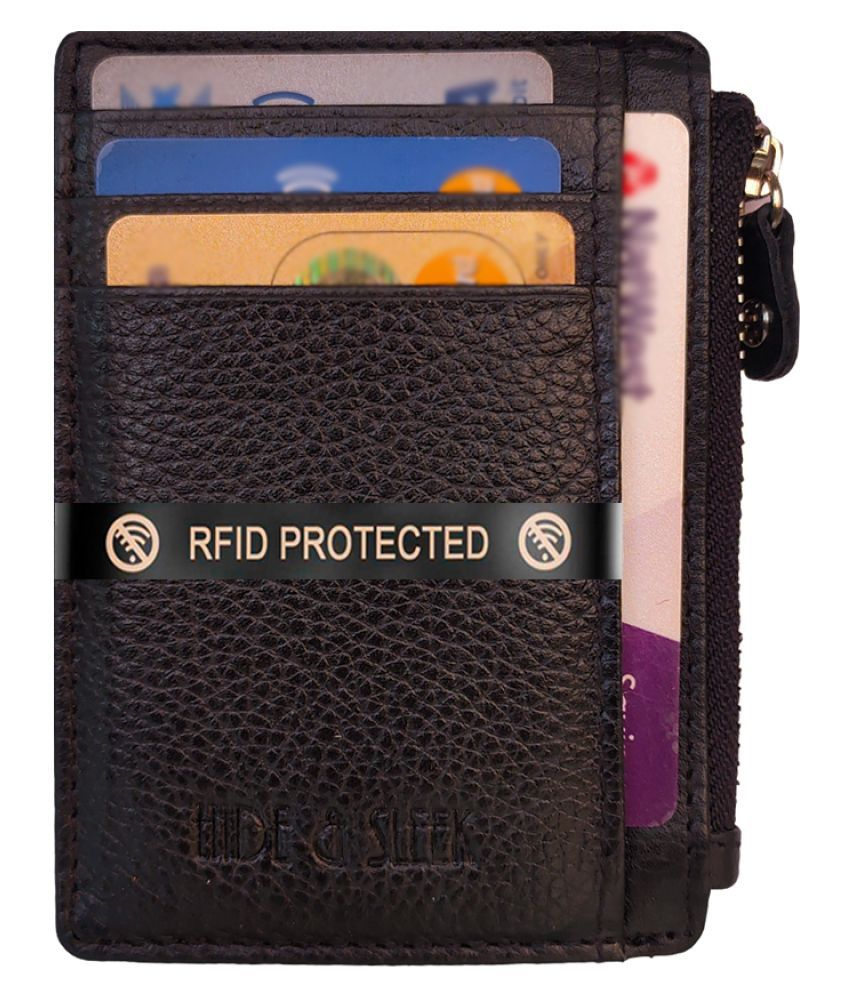 Hide&Sleek Genuine Black Leather RFID Protected Zipper Card Holder