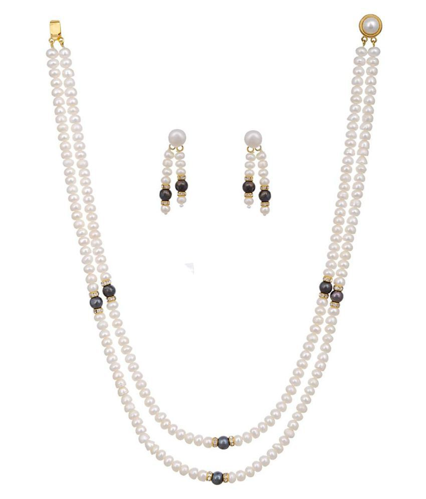 KNK JEWELLERY Alloy White Choker Designer Gold Plated Necklaces Set