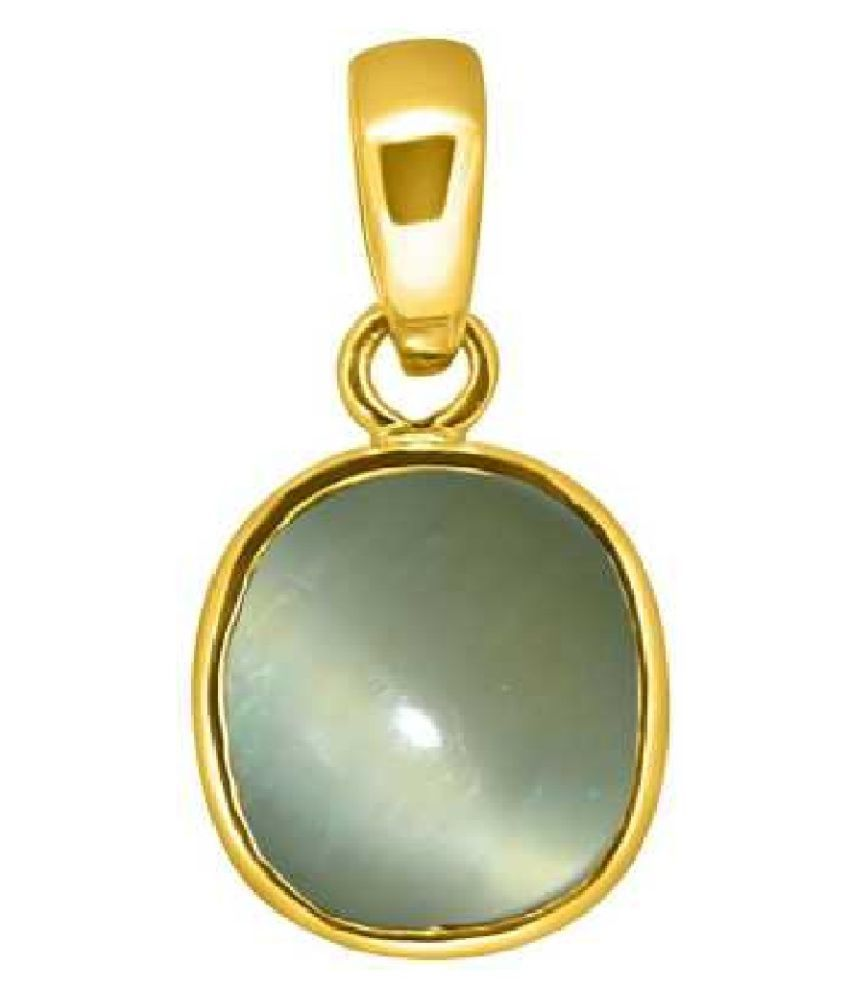 RATAN BAZAAR - Cats eye 5.5 carat Stone Pendant Natural Cats Eye stone Certified & Astrological purpose for men & women Gold Plated Cat's Eye Stone Pendant