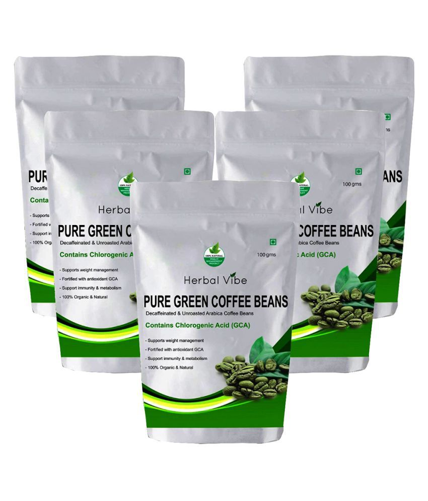 Herbal Vibe Pure Green Coffee Bean for Weight Loss 500 gm Unflavoured Pack of 5