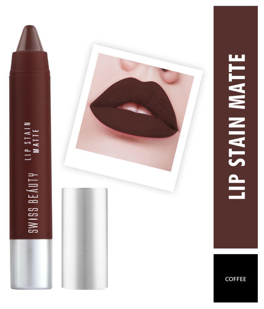 Swiss Beauty Lip Stain Matte Lipstick Lipstick (Coffee), 3gm