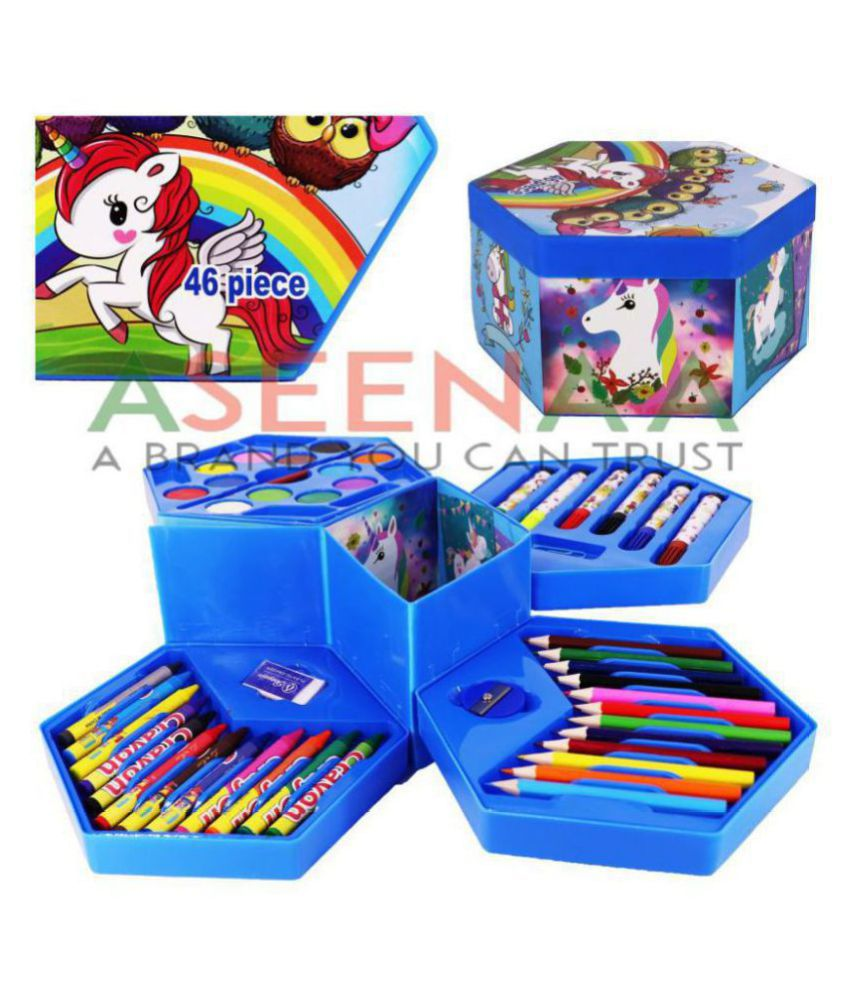 Aseenaa Unicorrn Colours Box With Color Pencil, Crayons, Water Color, Sketch Pens, Eraser, Pencil Sharpner And Pin For Boys And Girls | Set Of 46 Pieces For Kids | Colour : Unicorrn In White Colour