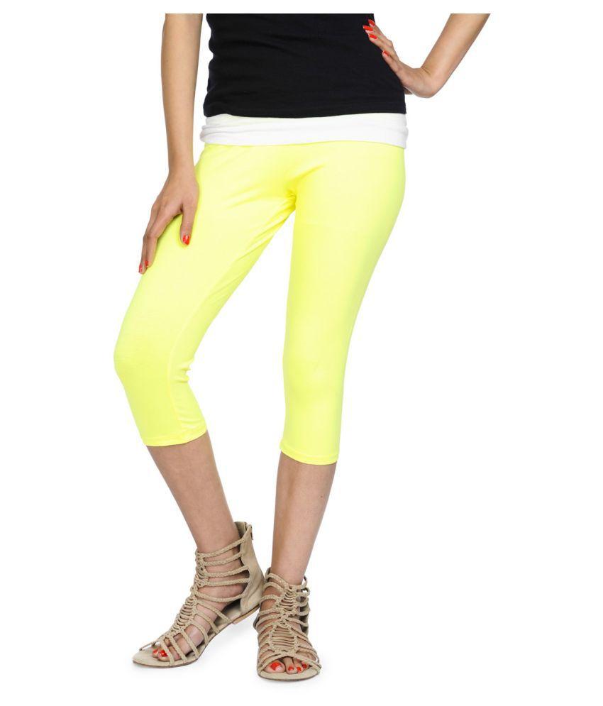 Femmora Cotton Lycra Tights - Yellow