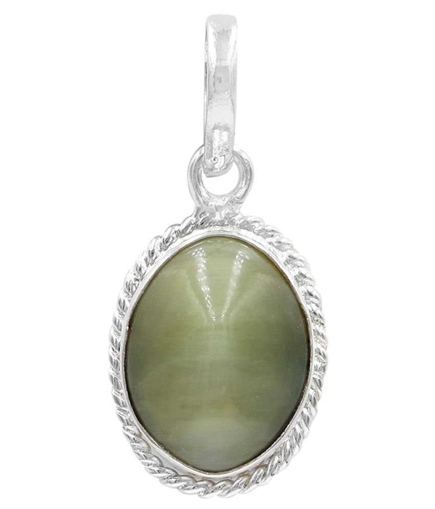 6 ratti Cats eye Stone Pendant Natural Cats Eye stone Certified & Astrological purpose for men & women Silver Cat's Eye Stone Pendant by RATAN BAZAAR