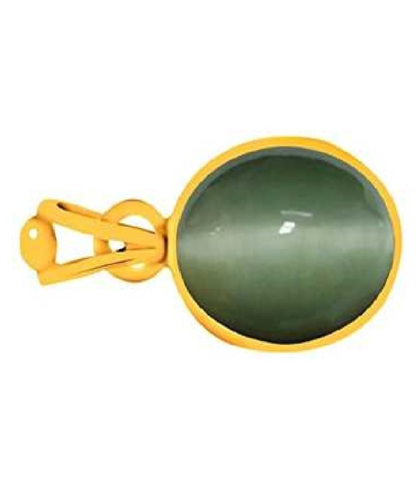 7 ratti Cats eye Stone Pendant Natural Cats Eye stone Certified & Astrological purpose for men & women Gold Plated  Cat's Eye Stone Pendant by RATAN BAZAAR