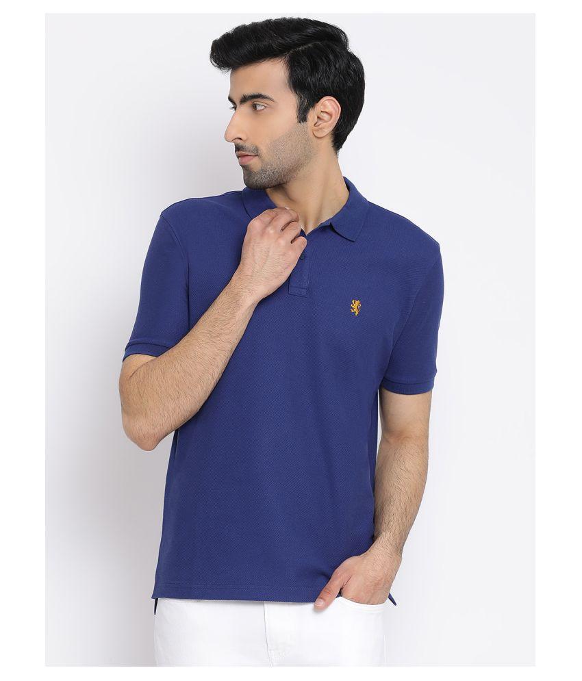 Red Tape 100 Percent Cotton Blue Plain Polo T Shirt
