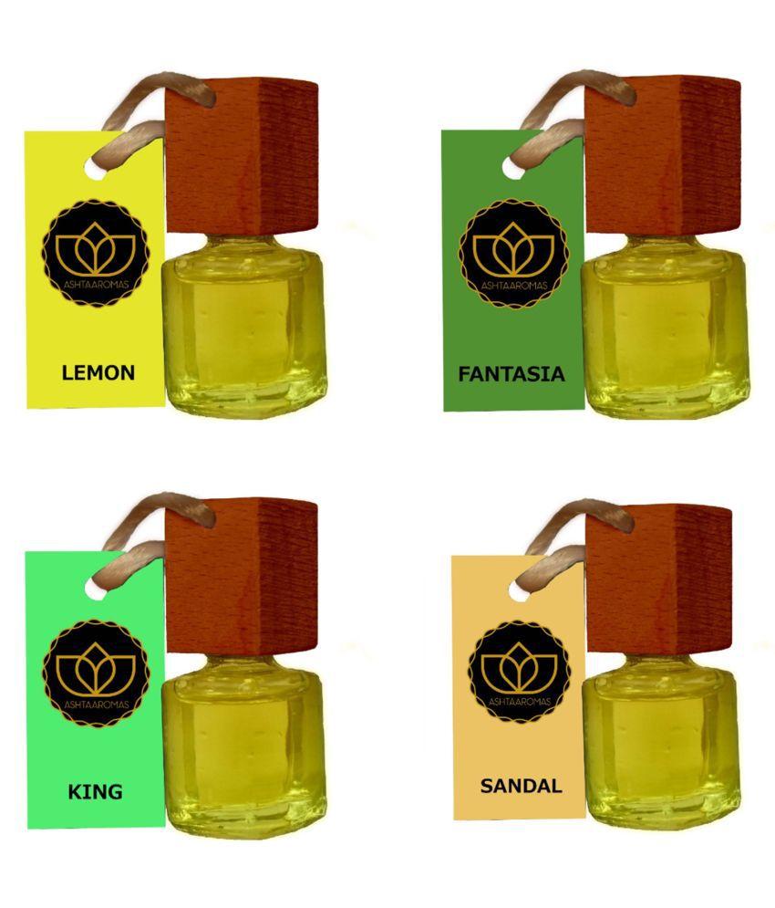 ASHTAAROMAS Lemon Fantasia King and Sandal Car Hanging Room Freshener Oil 28 mL Pack of 4