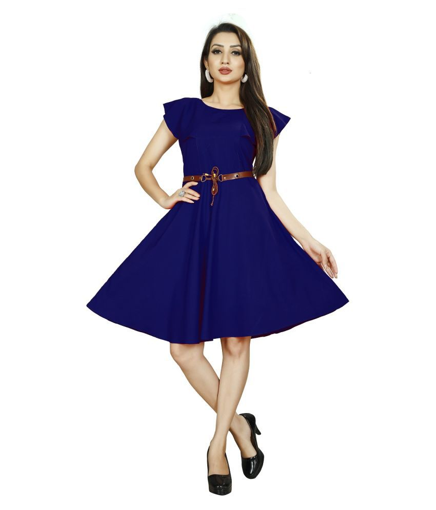 Rahi Fashion Crepe Blue Fit And Flare Dress