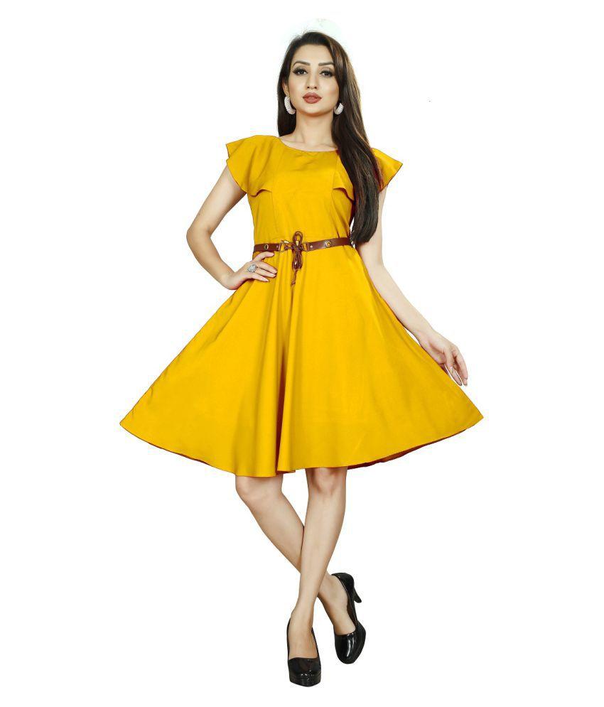 Rahi Fashion Crepe Yellow Fit And Flare Dress