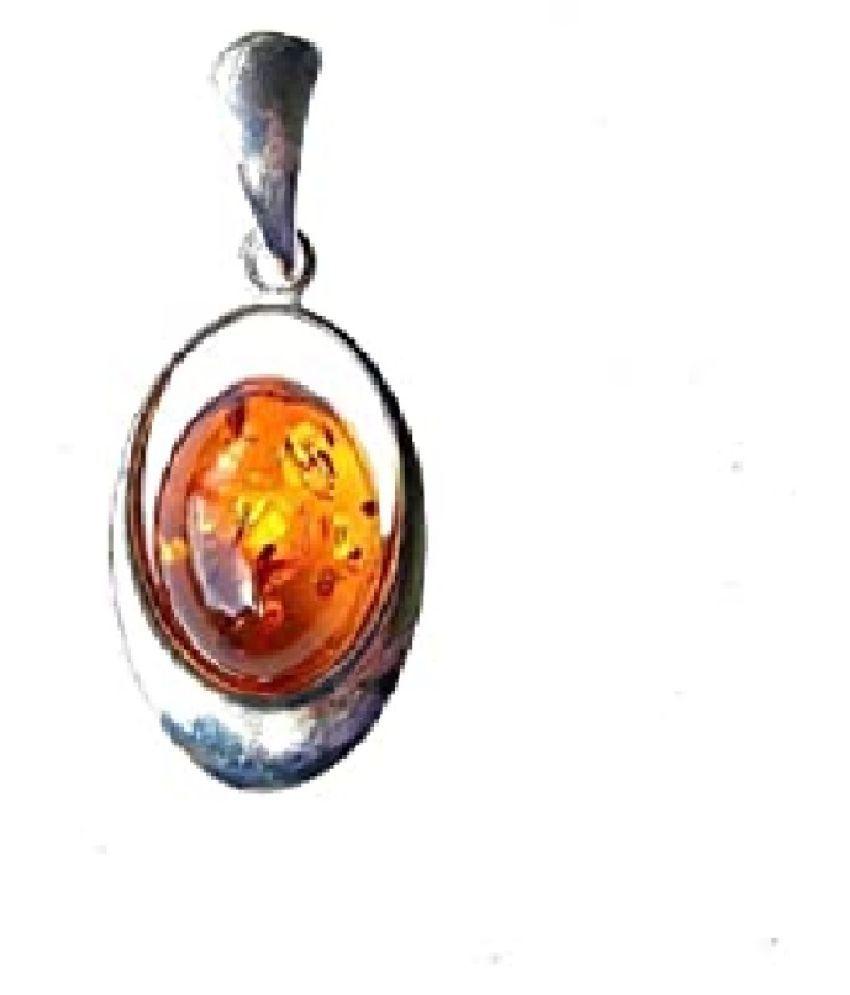 5.5 Ratti Silver Original Amber Pendant Lab Certified Stone by Ratan Bazaar\n