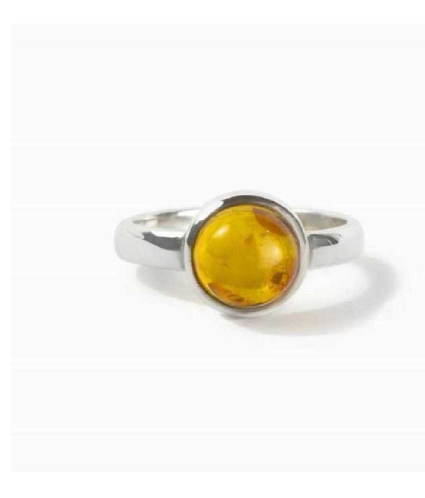 7.25 Ratti Lab Certified Stone 100% Original Amber Silver RING(Anguthi) for unisex by Ratan Bazaar\n