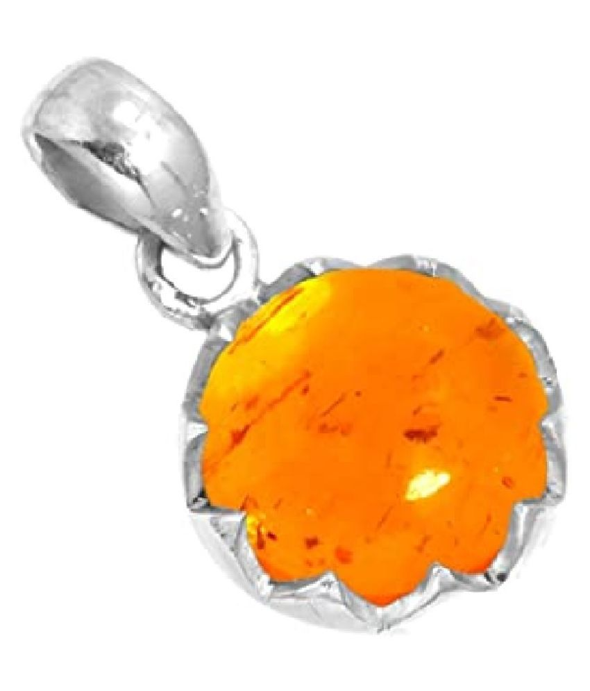 9.25 ratti silver  Amber Pendant for unisex by Ratan Bazaar\n