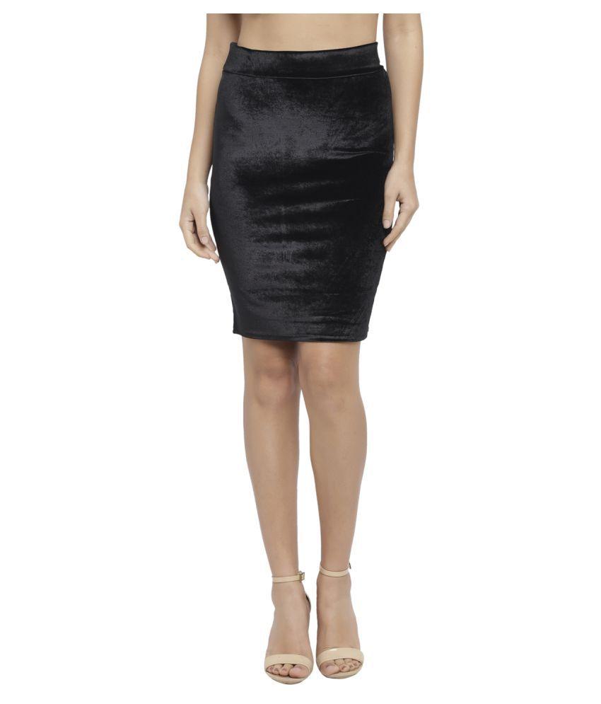 Avenew Fashions Velvet Pencil Skirt - Black