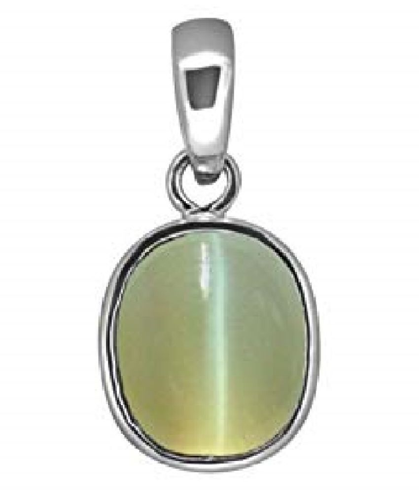 Cats eye 7.5 ratti  Stone Pendant Natural Cats Eye stone Certified & Astrological purpose for men & women Sterling Silver Cat's Eye Stone Pendant by RATAN BAZAAR