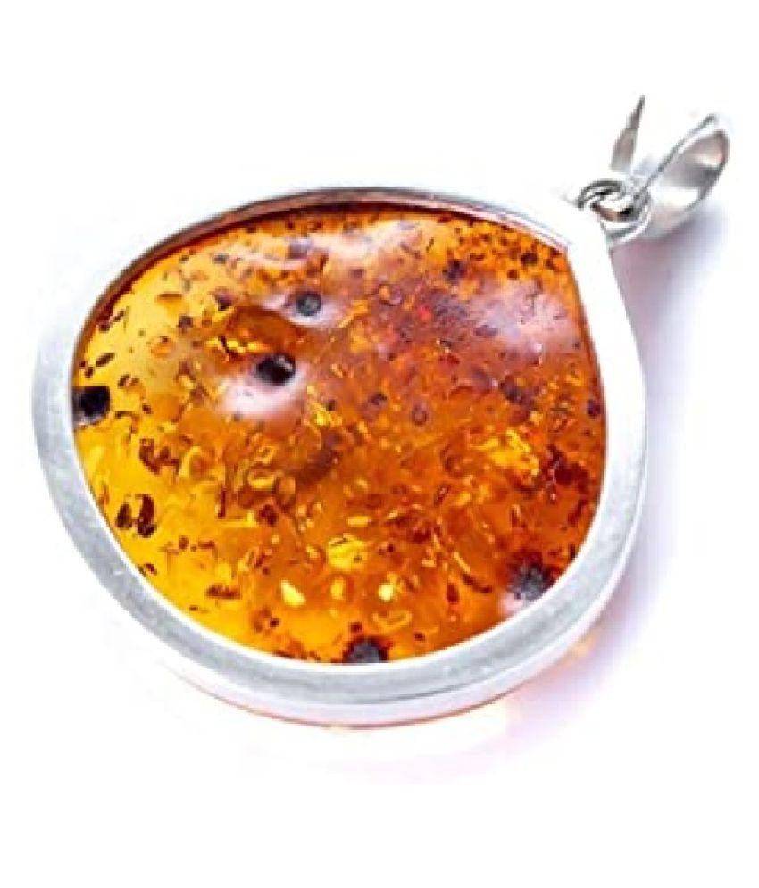 Certified 6.25 Carat silver Amber Pendant by Ratan Bazaar