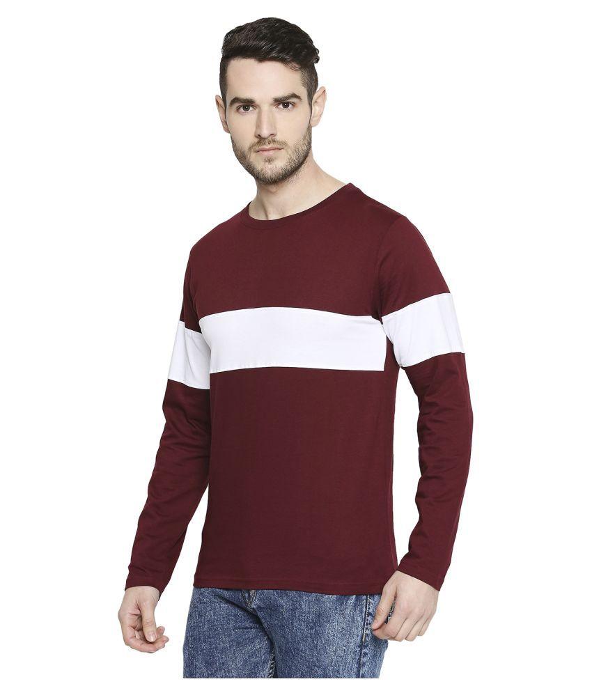 Jhankhi 100 Percent Cotton Maroon Color Block T-Shirt