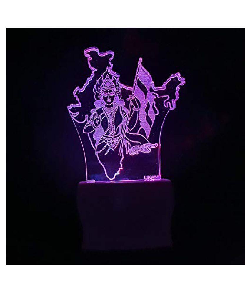 UKANI 3D Bharatmata Acrylic Night Lamp for Home/Bedroom/Gift Night Lamp Multi - Pack of 1