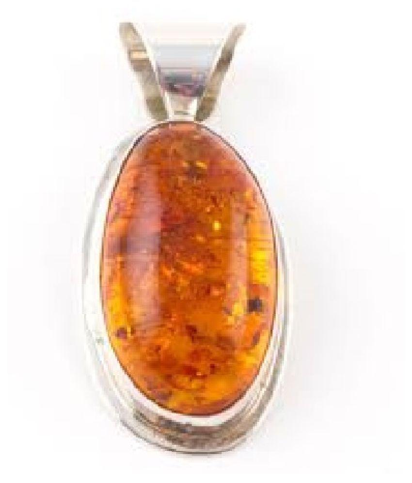 Unheated & Untreated Amber silver Pendant 100% Original & Certified Stone by Ratan Bazaar