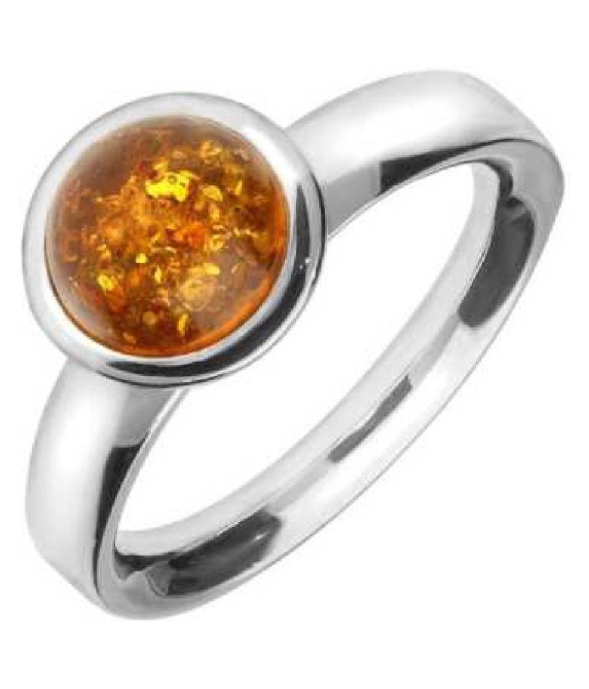 5 carat Natural Silver Amber RING(Anguthi)by   KUNDLI GEMS\n