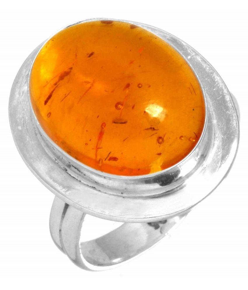 Amber RING(Anguthi) 5 carat  silver RING(Anguthi) by   KUNDLI GEMS