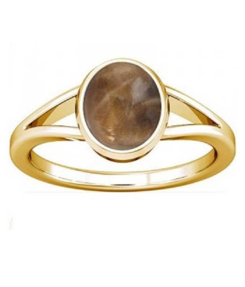 GOLD PLATED Amber Stone RING(Anguthi) 5.5 carat by   KUNDLI GEMS