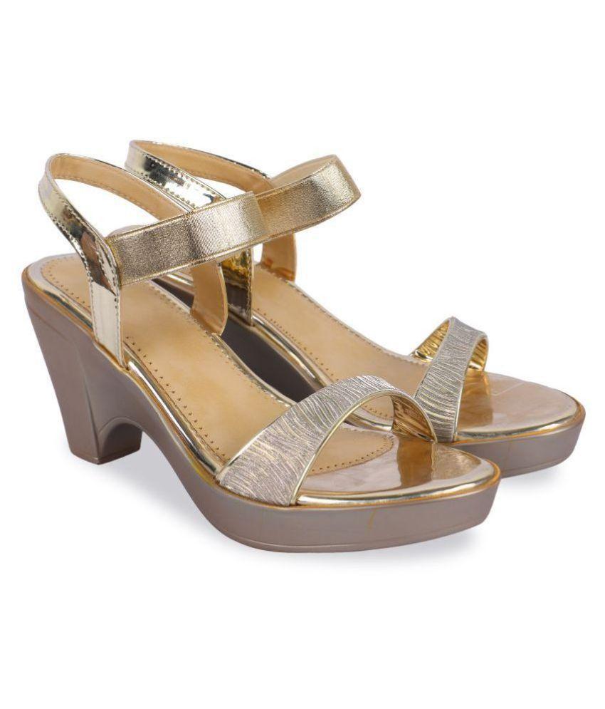 Mohini Steps Gold Block Heels