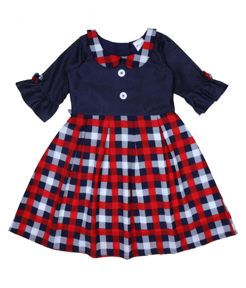 Navy Checkered 3/4 Sleeve Dress With Collar
