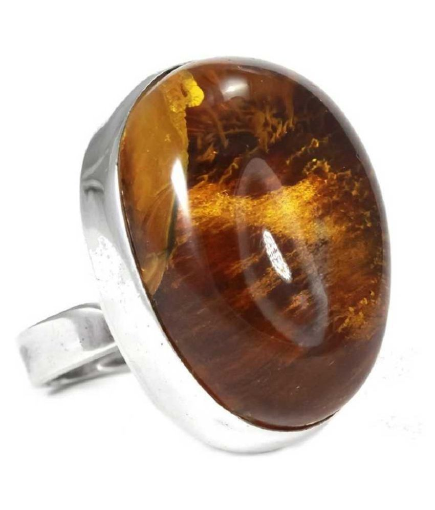 7.25 carat pure Amber silver RING(Anguthi)by  KUNDLI GEMS\n