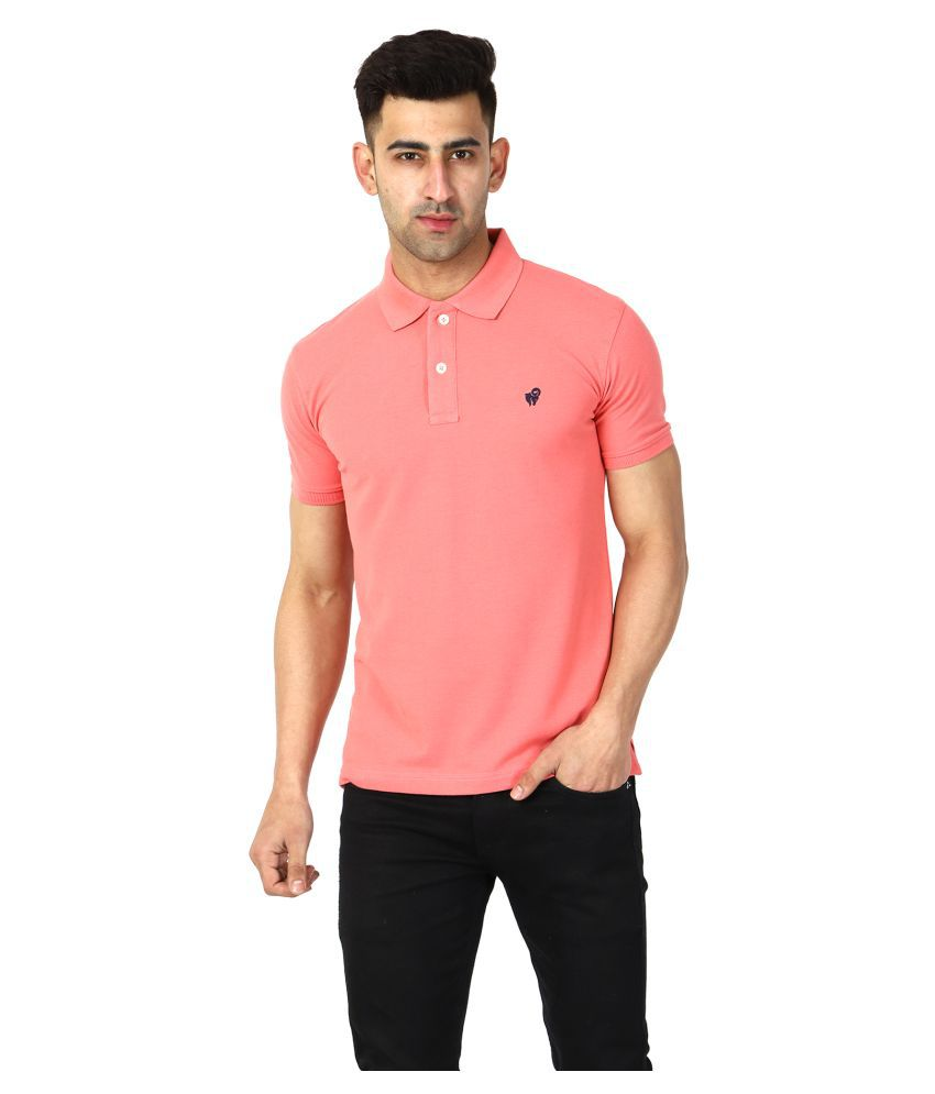Aspire Cotton Blend Pink Plain Polo T Shirt