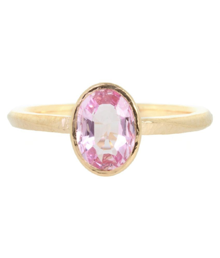 5.5 Carat PINK SAPPHIRE GOLD PLATED RING(ANGUTHI) by KUNDLI GEMS