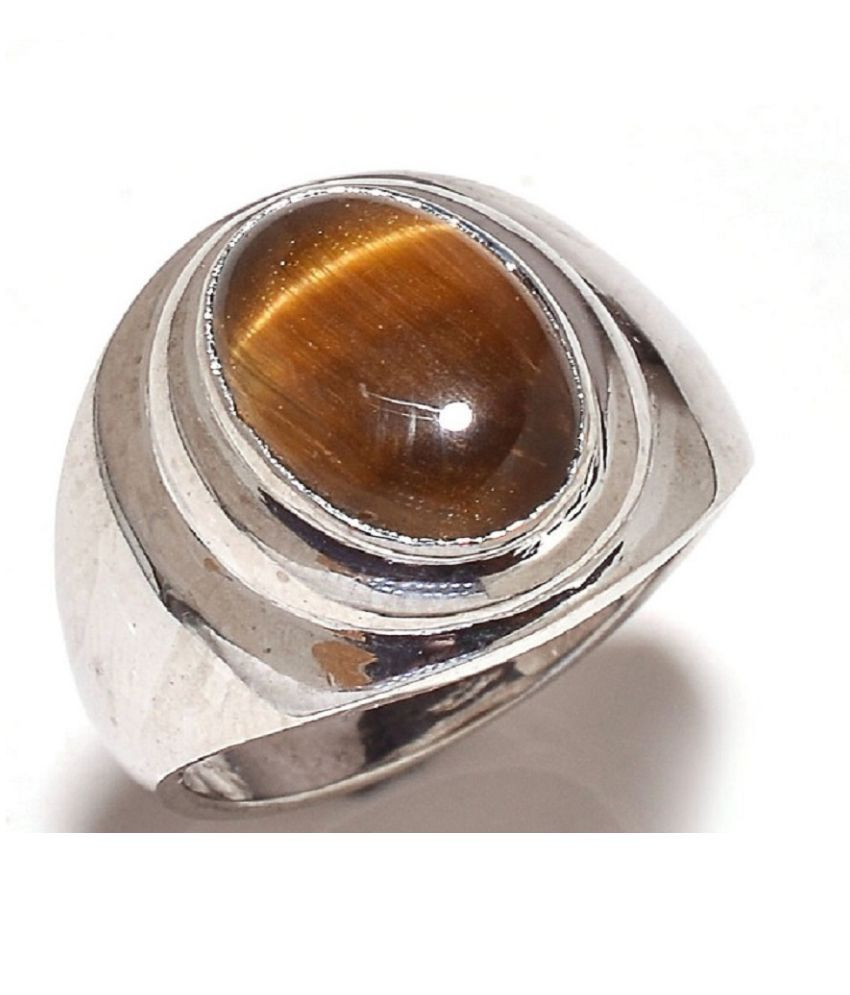 5.5 Ratti Silver Original Tiger's Eye RING(Anguthi)Lab Certified Stone by Ratan Bazaar\n