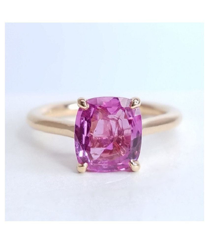 5 RATTI GOLD PLATED RING(ANGUTHI) PINK SAPPHIRE RING(ANGUTHI) for unisex by KUNDLI GEMS\n
