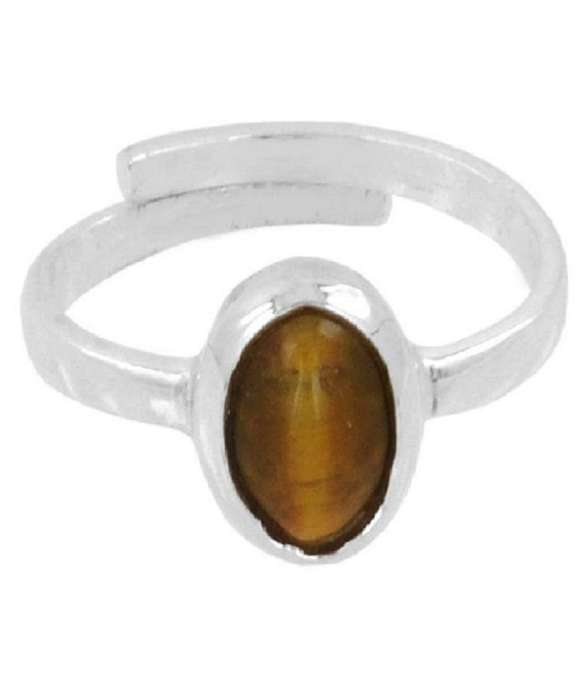 6 ratti Stone 100% Natural Tiger's Eye silver RING(Anguthi)by Ratan Bazaar\n