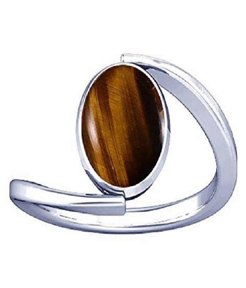 7 Ratti Lab Certified Stone 100% Original Tiger's Eye silver RING(Anguthi) for unisex by Ratan Bazaar\n