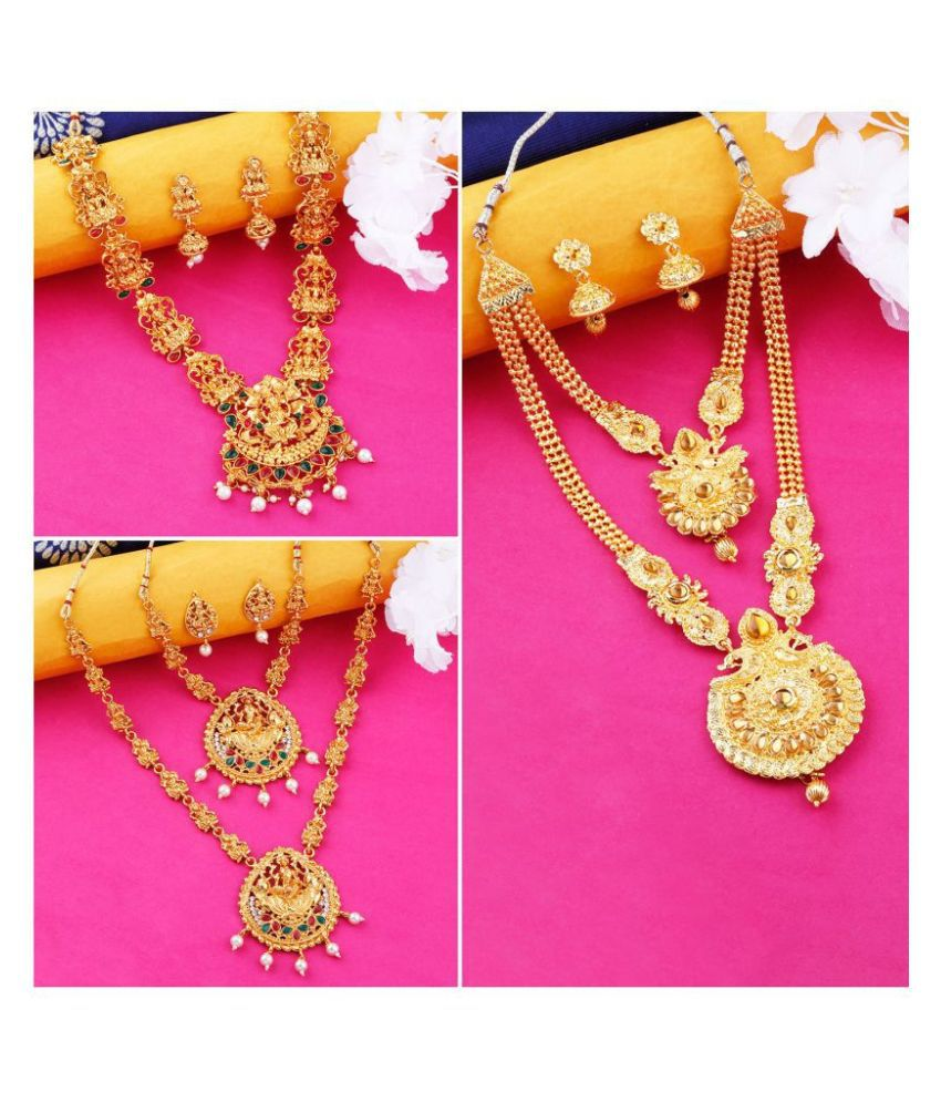 N M CREATION Alloy Golden Designer Necklaces Set Contemporary