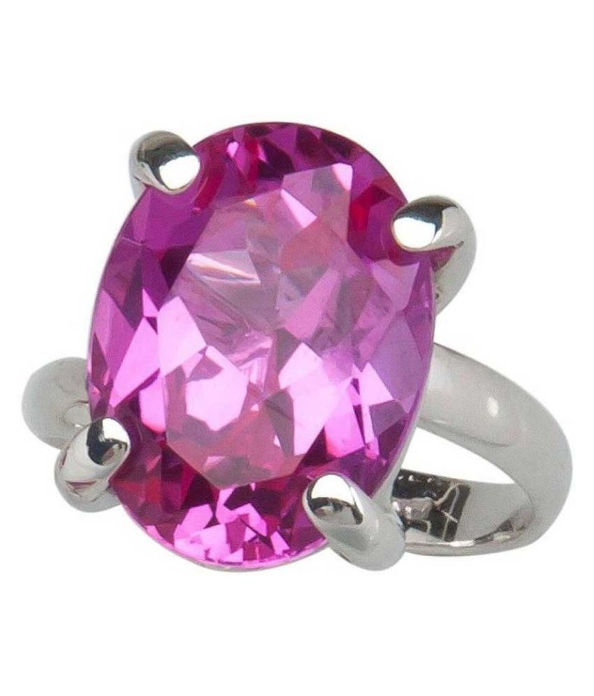 Unheated 5 Carat  PINK SAPPHIRE Silver RING(ANGUTHI) 100% Original & Certified Stone by KUNDLI GEMS
