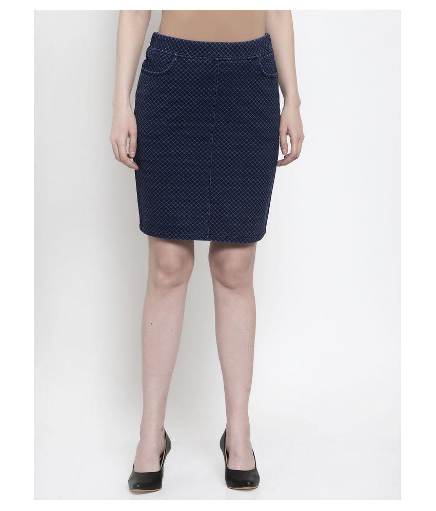 Westwood Cotton Straight Skirt - Blue