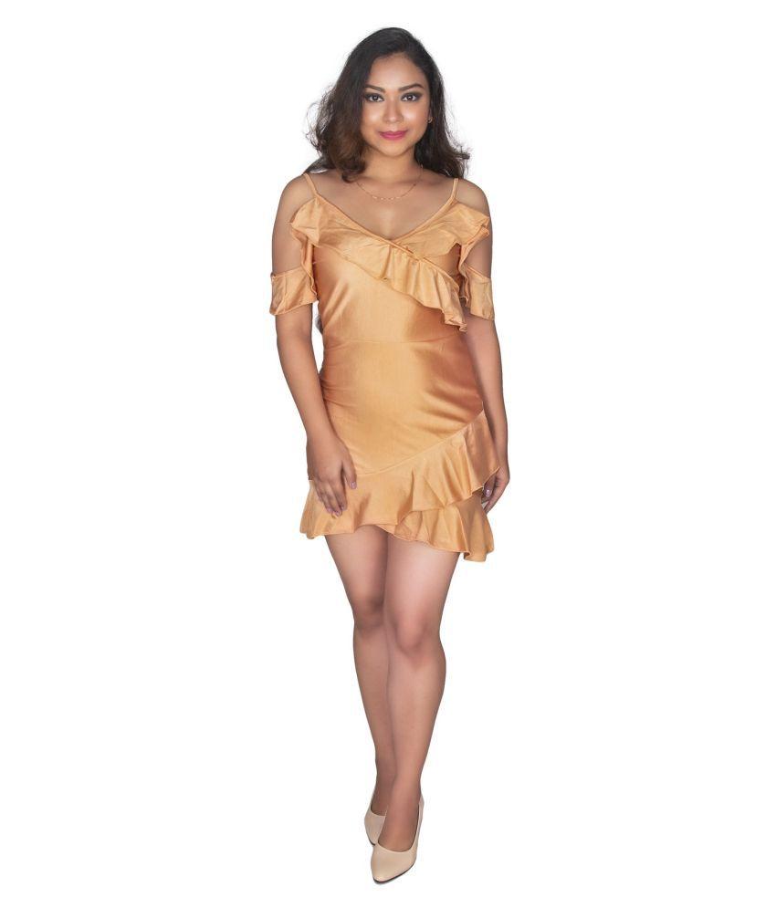 leeancart Polyester Beige Regular Dress