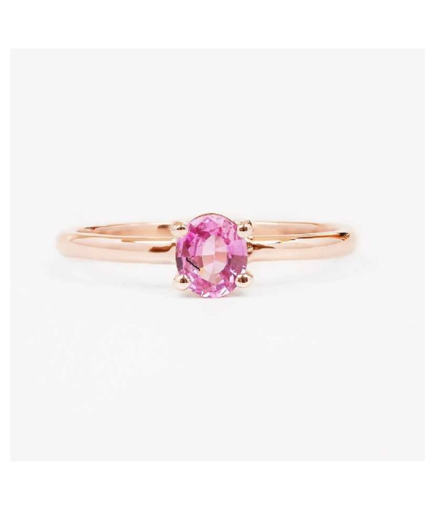 5.5 Ratti  GOLD PLATED PINK SAPPHIRE  Stone RING(ANGUTHI) by KUNDLI GEMS