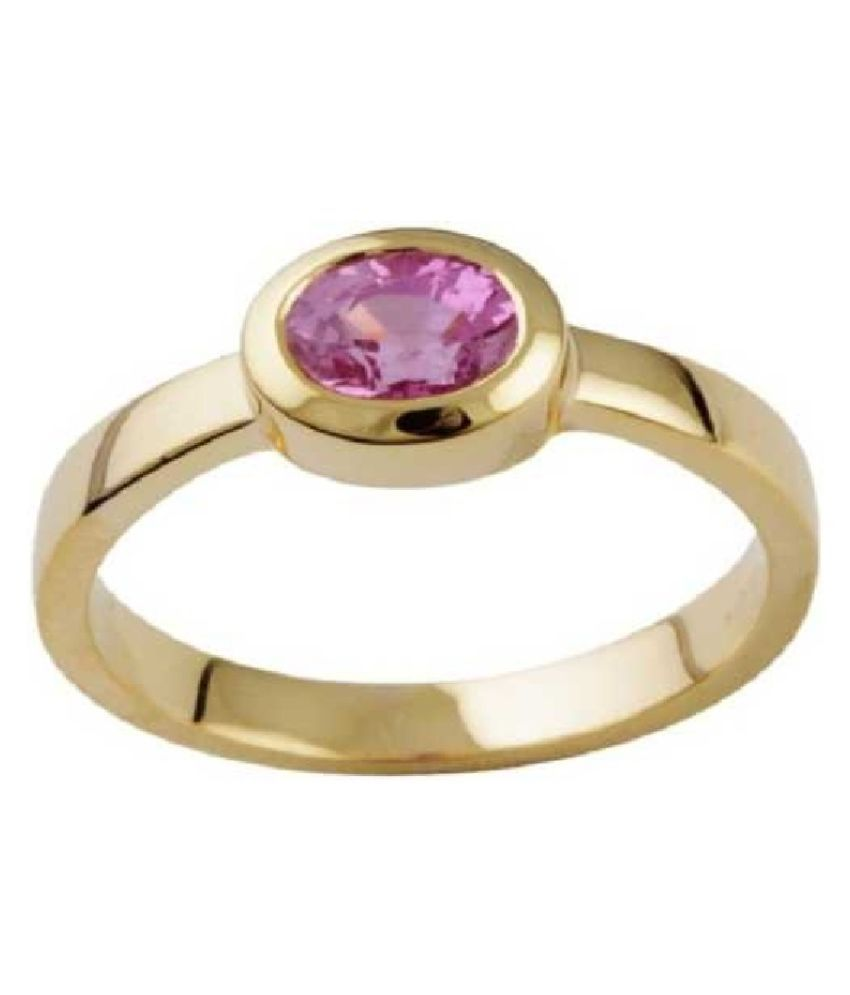 8.5 Ratti PINK SAPPHIRE   GOLD PLATED   RING(ANGUTHI) for Unisex by KUNDLI GEMS\n