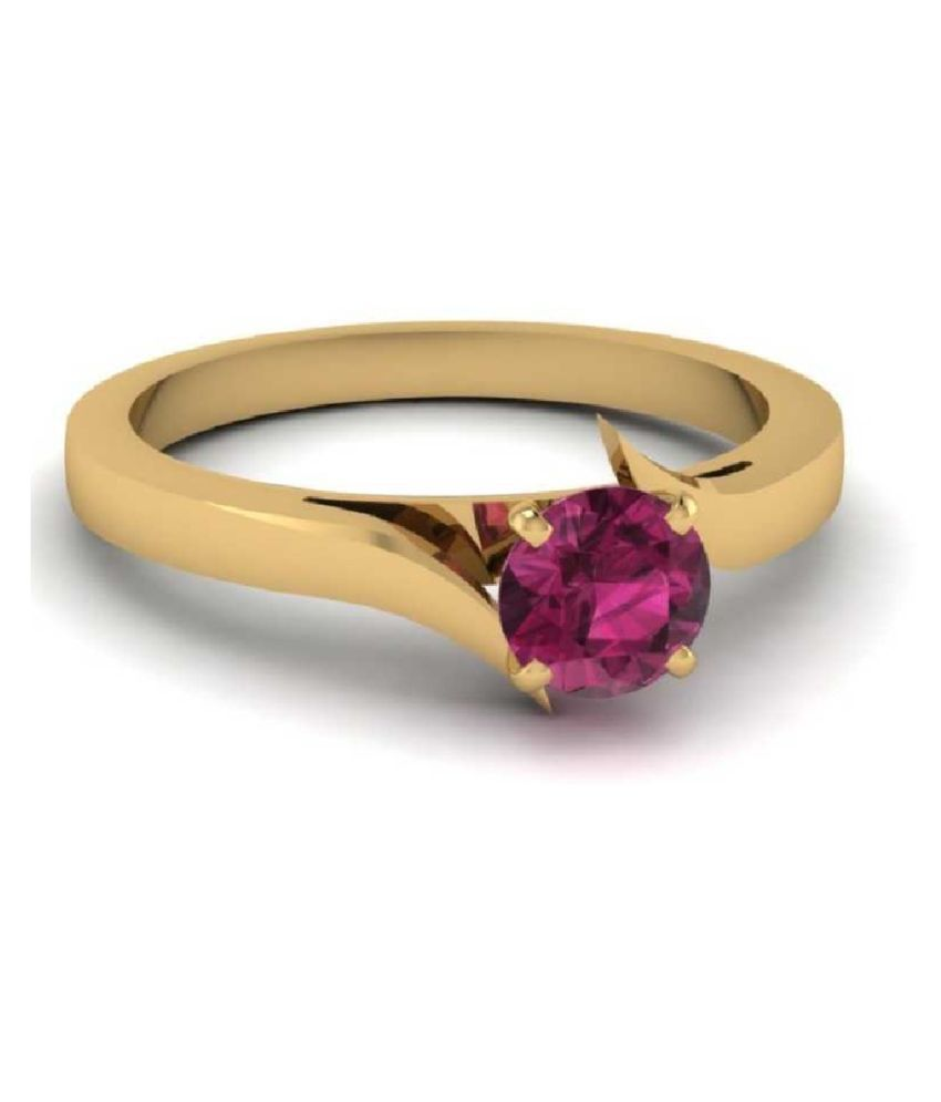 PINK SAPPHIRE  RING(ANGUTHI) 7 carat   GOLD PLATED   RING(ANGUTHI)  by KUNDLI GEMS