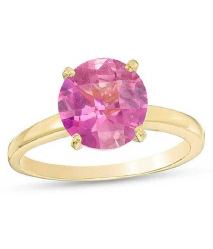 PINK SAPPHIRE  original & lab certified 6.25 ratti  GOLD PLATED   RING(ANGUTHI) for astrological purpose by KUNDLI GEMS\n