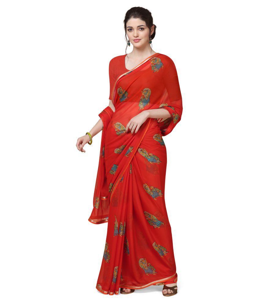 Anni Designer Orange Chiffon Saree