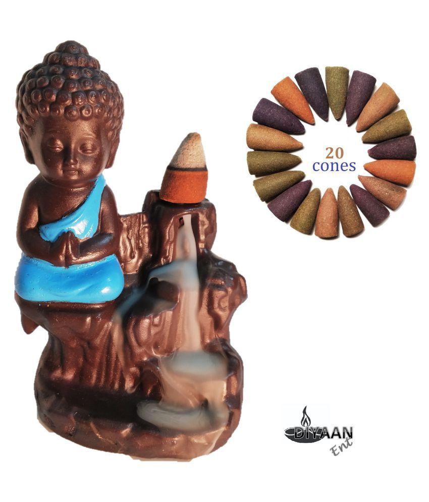DIYAAN ENT Multicolour Resin Monk Buddha Smoke Backflow - Pack of 1