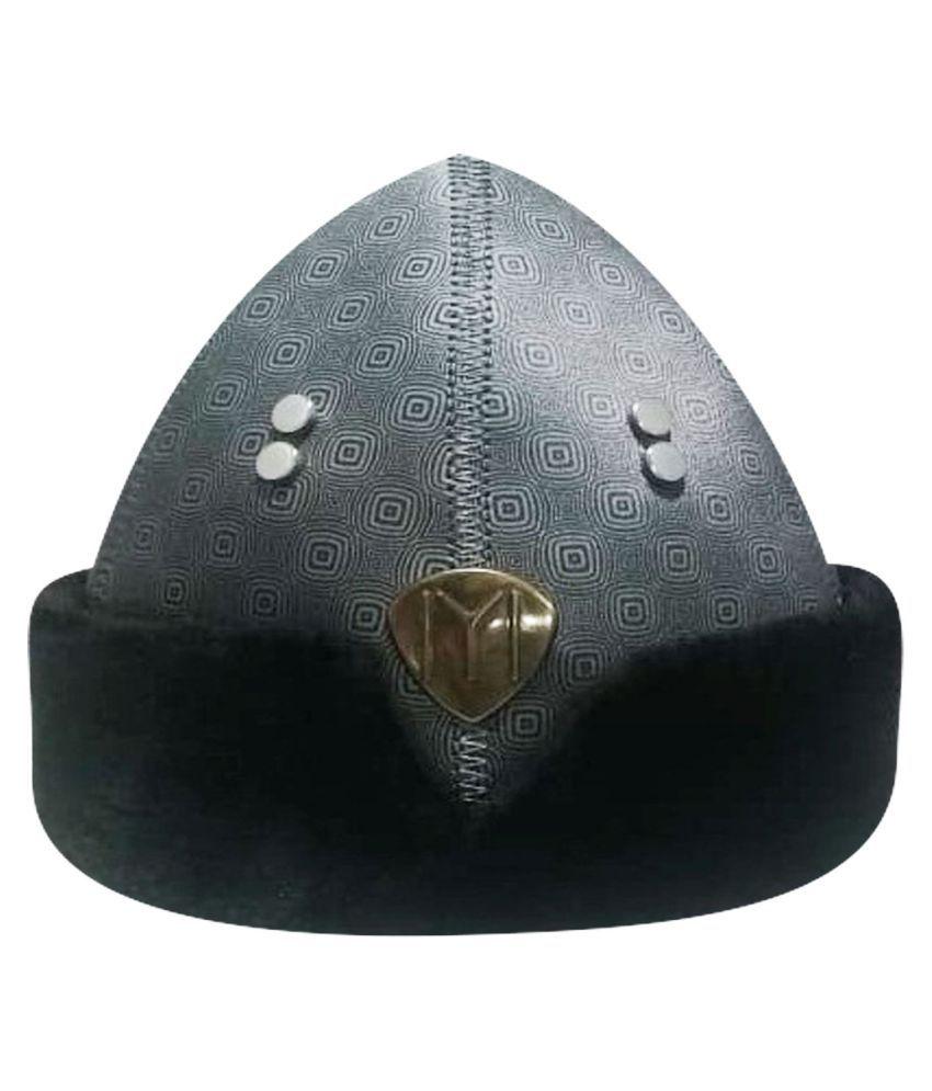 Ertugrul Ghazi Cap Black Embroidered Fabric Caps