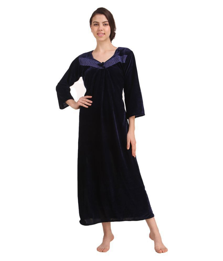 Gospel Velvet Nighty & Night Gowns - Navy