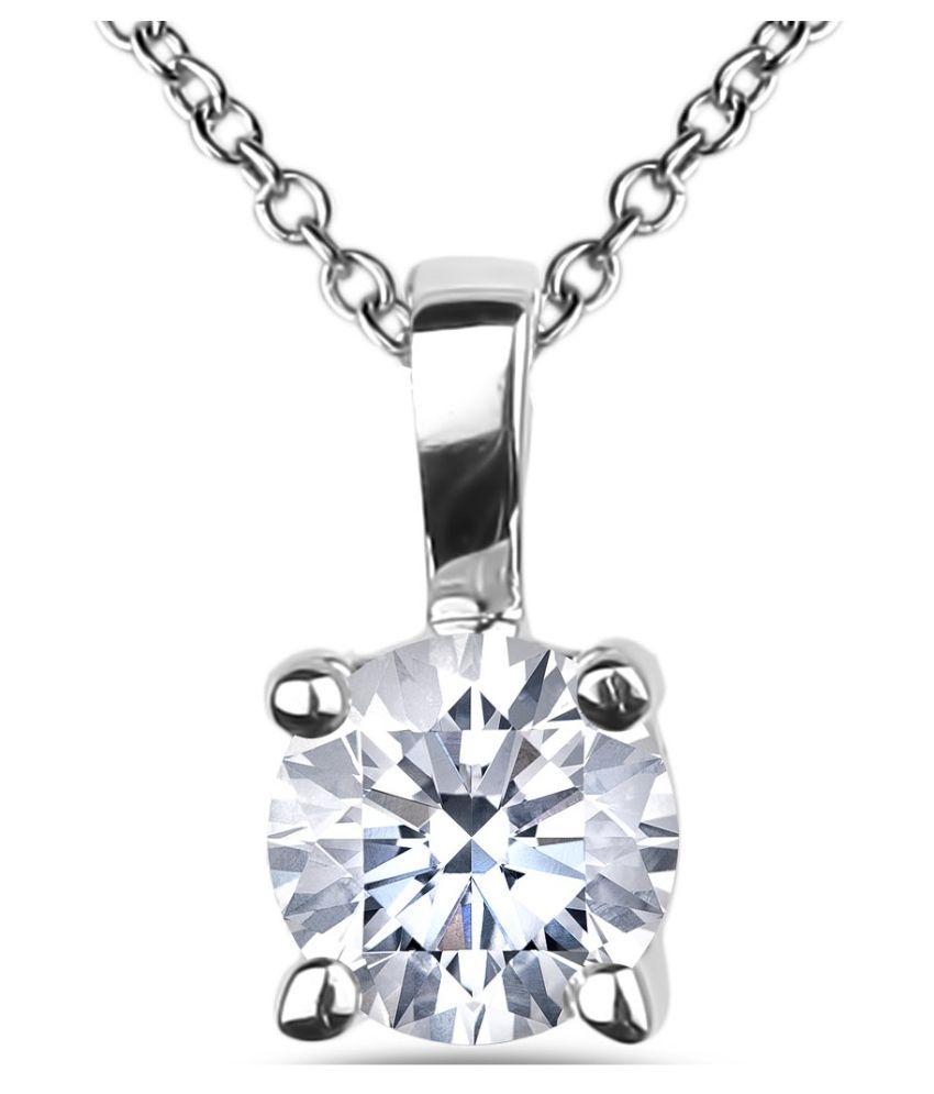 Silver  5 Ratti Zircon Silver Pendant  by Ratan Bazaar\n