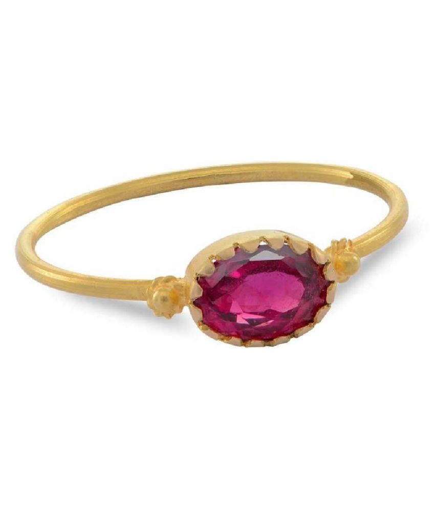 8.5 carat pure  PINK SAPPHIRE  GOLD PLATED RING(ANGUTHI) by RATAN BAZAAR \n