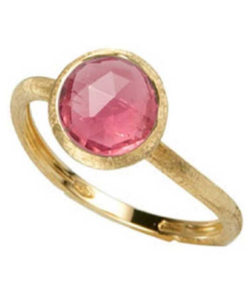 9.25 ratti Stone 100% Natural PINK SAPPHIRE  GOLD PLATED RING(ANGUTHI) by RATAN BAZAAR\n