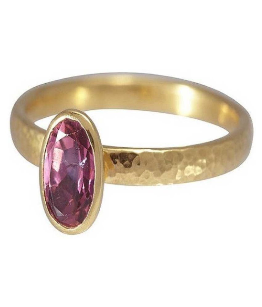 9 ratti GOLD PLATED PINK SAPPHIRE RING(ANGUTHI) for unisex by RATAN BAZAAR\n
